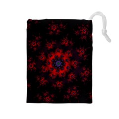 Fractal Abstract Blossom Bloom Red Drawstring Pouches (large)