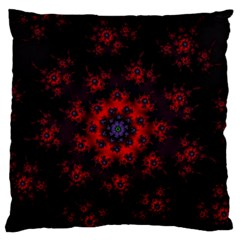 Fractal Abstract Blossom Bloom Red Large Flano Cushion Case (two Sides)