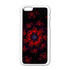 Fractal Abstract Blossom Bloom Red Apple iPhone 6/6S White Enamel Case