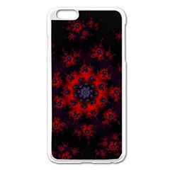 Fractal Abstract Blossom Bloom Red Apple Iphone 6 Plus/6s Plus Enamel White Case