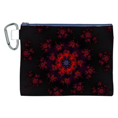 Fractal Abstract Blossom Bloom Red Canvas Cosmetic Bag (xxl)