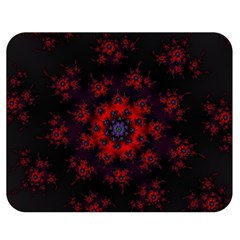 Fractal Abstract Blossom Bloom Red Double Sided Flano Blanket (medium)