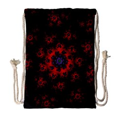 Fractal Abstract Blossom Bloom Red Drawstring Bag (large)