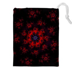 Fractal Abstract Blossom Bloom Red Drawstring Pouches (xxl)