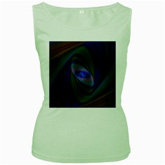 Ellipse Fractal Computer Generated Women s Green Tank Top
