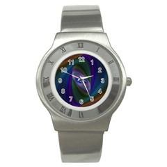 Ellipse Fractal Computer Generated Stainless Steel Watch