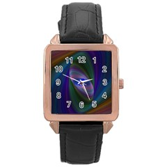 Ellipse Fractal Computer Generated Rose Gold Leather Watch