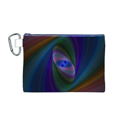 Ellipse Fractal Computer Generated Canvas Cosmetic Bag (m)