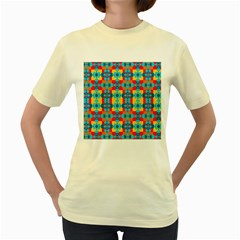 Pop Art Abstract Design Pattern Women s Yellow T-Shirt