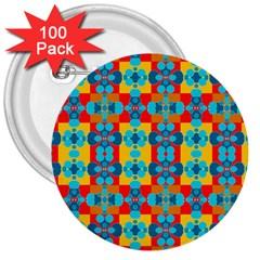 Pop Art Abstract Design Pattern 3  Buttons (100 Pack)