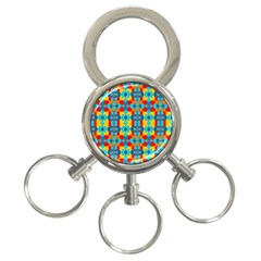 Pop Art Abstract Design Pattern 3 Ring Key Chains