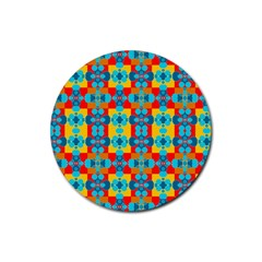 Pop Art Abstract Design Pattern Rubber Round Coaster (4 Pack)