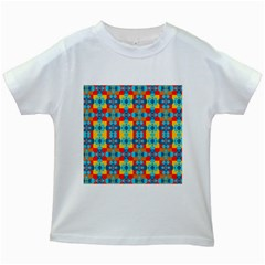 Pop Art Abstract Design Pattern Kids White T Shirts