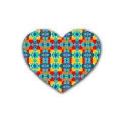 Pop Art Abstract Design Pattern Rubber Coaster (heart)