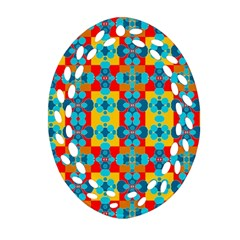 Pop Art Abstract Design Pattern Oval Filigree Ornament (Two Sides)