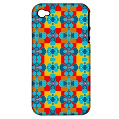 Pop Art Abstract Design Pattern Apple Iphone 4/4s Hardshell Case (pc+silicone)