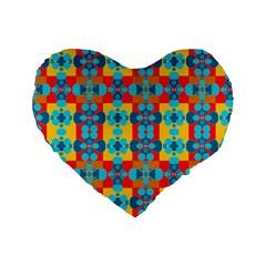 Pop Art Abstract Design Pattern Standard 16  Premium Heart Shape Cushions