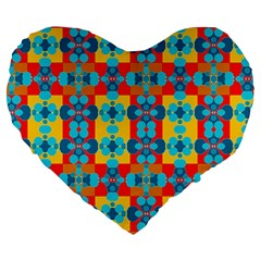 Pop Art Abstract Design Pattern Large 19  Premium Heart Shape Cushions