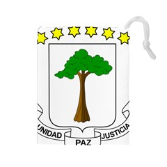 Coat of Arms of Equatorial Guinea Drawstring Pouches (Large)