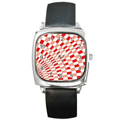 Graphics Pattern Design Abstract Square Metal Watch