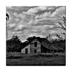 Farm house in black and white ! Tile Coaster
