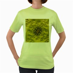 Fractal Art Colorful Pattern Women s Green T Shirt
