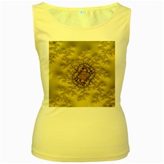 Fractal Art Colorful Pattern Women s Yellow Tank Top