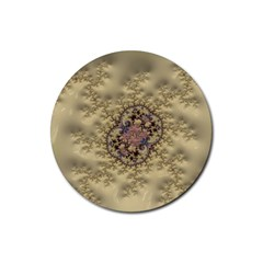 Fractal Art Colorful Pattern Rubber Round Coaster (4 Pack)