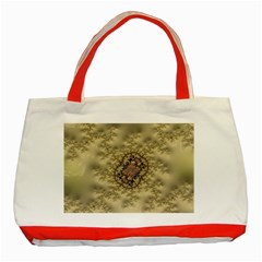 Fractal Art Colorful Pattern Classic Tote Bag (red)