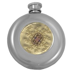 Fractal Art Colorful Pattern Round Hip Flask (5 Oz)