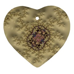 Fractal Art Colorful Pattern Heart Ornament (two Sides)