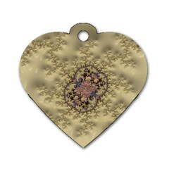 Fractal Art Colorful Pattern Dog Tag Heart (two Sides)