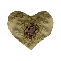 Fractal Art Colorful Pattern Standard 16  Premium Flano Heart Shape Cushions