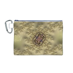 Fractal Art Colorful Pattern Canvas Cosmetic Bag (m)
