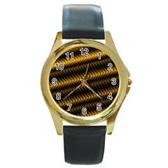 Ornament Stucco Close Pattern Art Round Gold Metal Watch