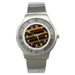 Ornament Stucco Close Pattern Art Stainless Steel Watch