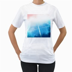 Court Sport Blue Red White Women s T-Shirt (White) (Two Sided)