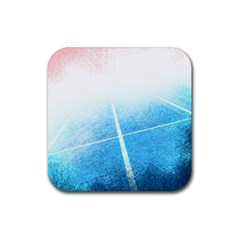 Court Sport Blue Red White Rubber Coaster (square)