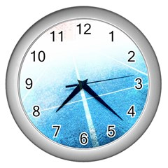Court Sport Blue Red White Wall Clocks (silver)