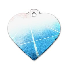 Court Sport Blue Red White Dog Tag Heart (two Sides)