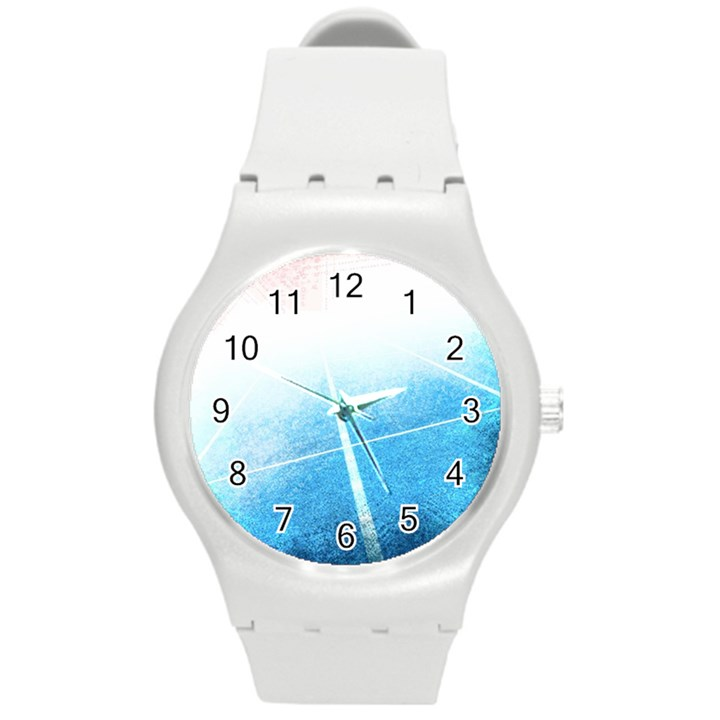Court Sport Blue Red White Round Plastic Sport Watch (M)