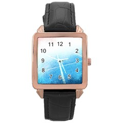 Court Sport Blue Red White Rose Gold Leather Watch