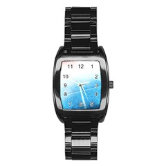 Court Sport Blue Red White Stainless Steel Barrel Watch