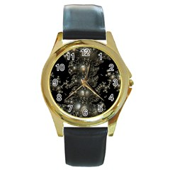 Fractal Math Geometry Backdrop Round Gold Metal Watch