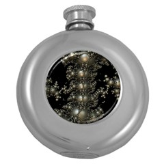 Fractal Math Geometry Backdrop Round Hip Flask (5 Oz)