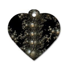 Fractal Math Geometry Backdrop Dog Tag Heart (two Sides)