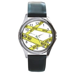 Keep Out Police Line Yellow Cross Entry Round Metal Watch
