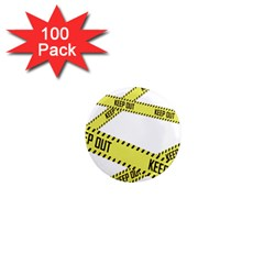Keep Out Police Line Yellow Cross Entry 1  Mini Magnets (100 Pack)