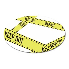 Keep Out Police Line Yellow Cross Entry Oval Magnet