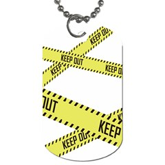 Keep Out Police Line Yellow Cross Entry Dog Tag (one Side)